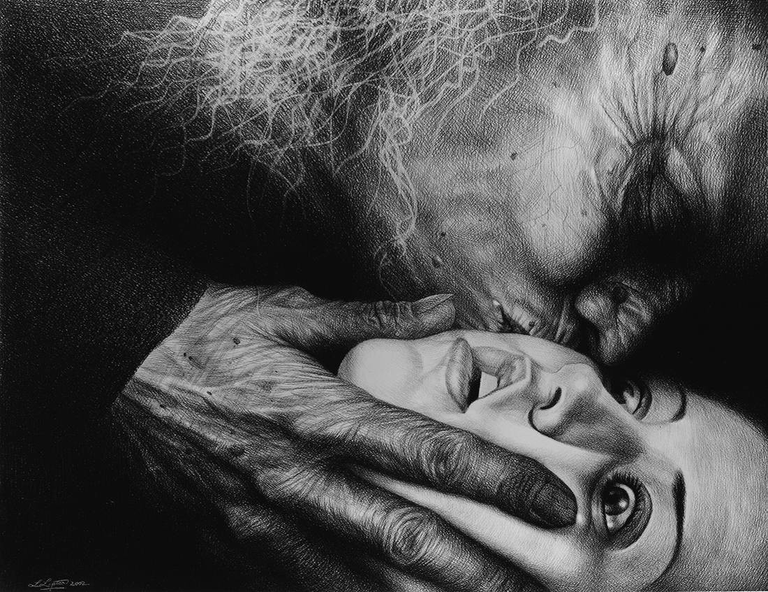 Laurie Lipton, pencil, drawing, the hag's emabrace