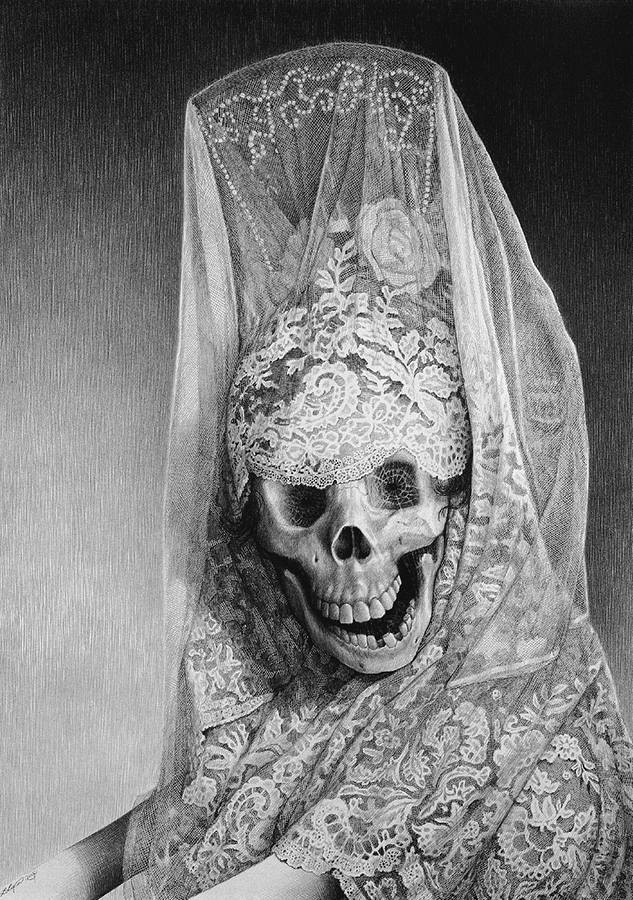 Laurie Lipton, pencil, drawing, Lady Death (Señorita Muerte)