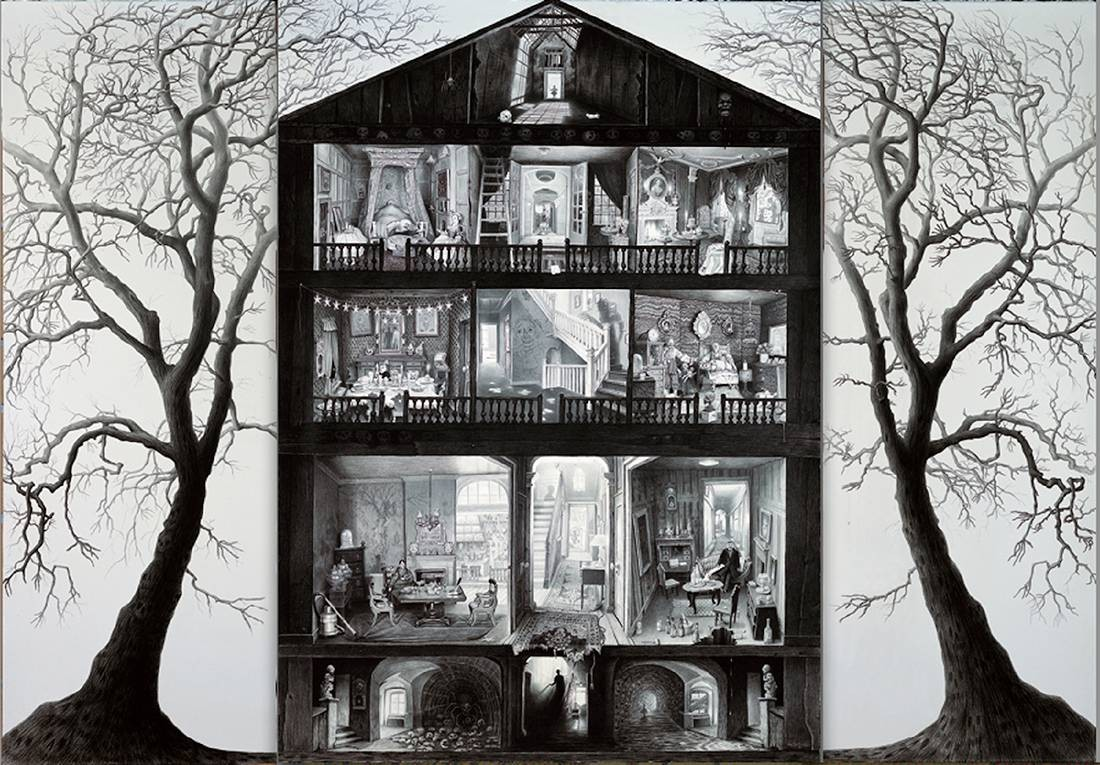 Laurie Lipton, pencil, drawing, the haunted dolls house