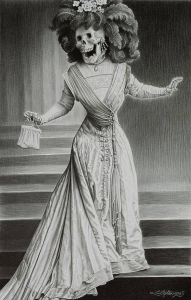Laurie Lipton, pencil, drawing, la catrina