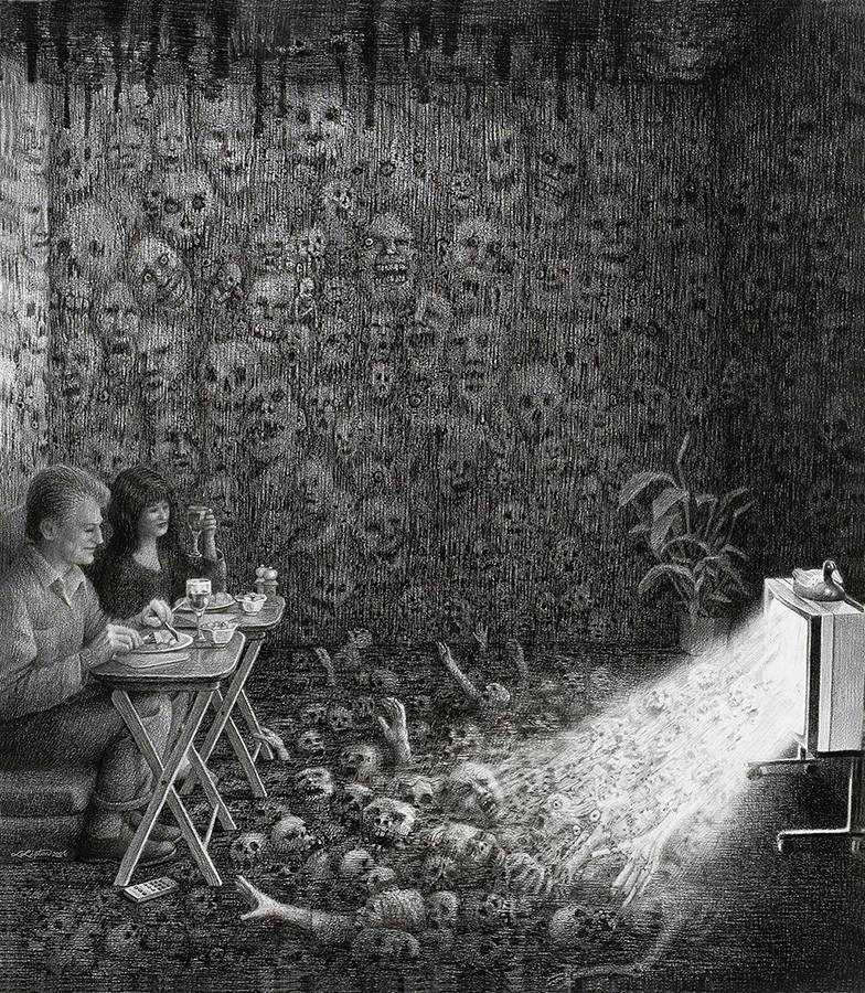 Laurie Lipton, pencil, drawings, Prime Time