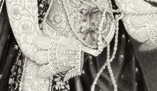 Laurie Lipton, pencil, drawing, queen of bones detail