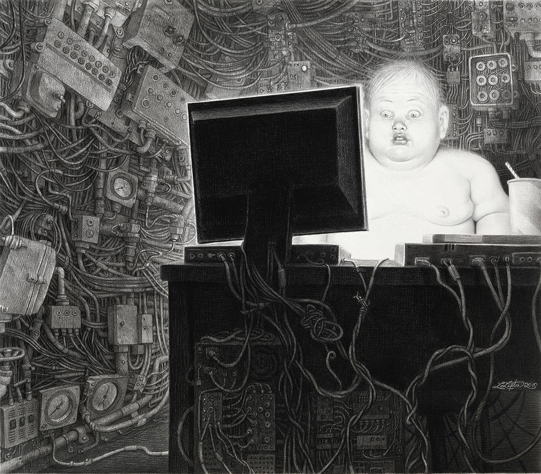 Laurie Lipton, pencil, drawing, Info Glut