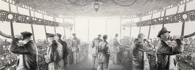 Laurie Lipton, pencil, drawing, the illusion of control tower