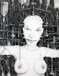 Laurie Lipton, pencil, drawing, Enhanced