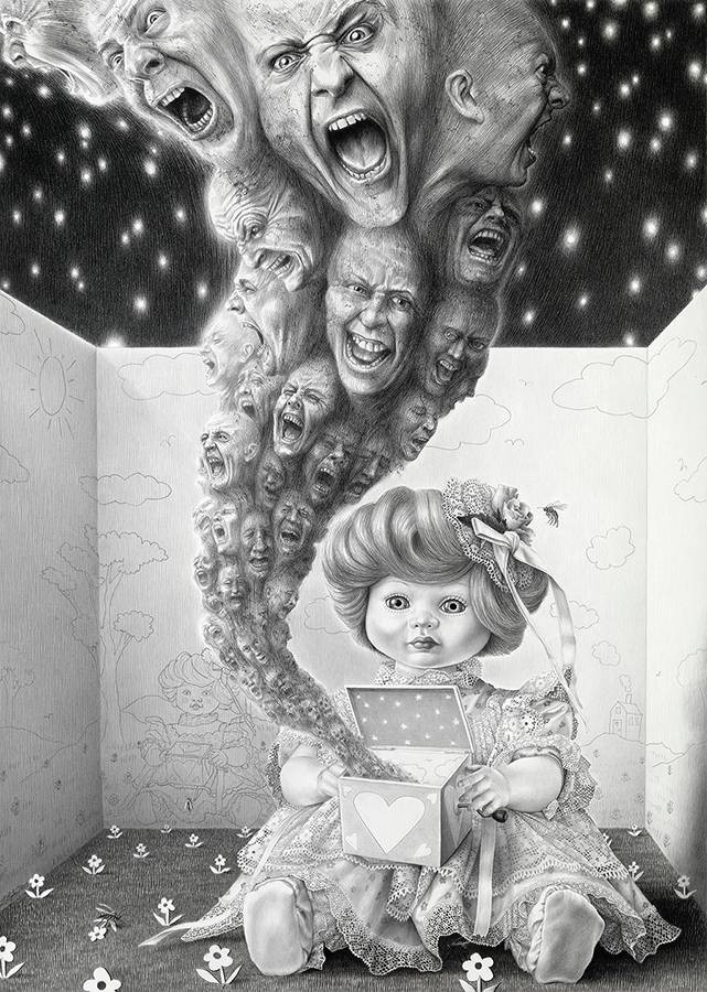 Laurie Lipton, pencil, drawing, Pandora's Box