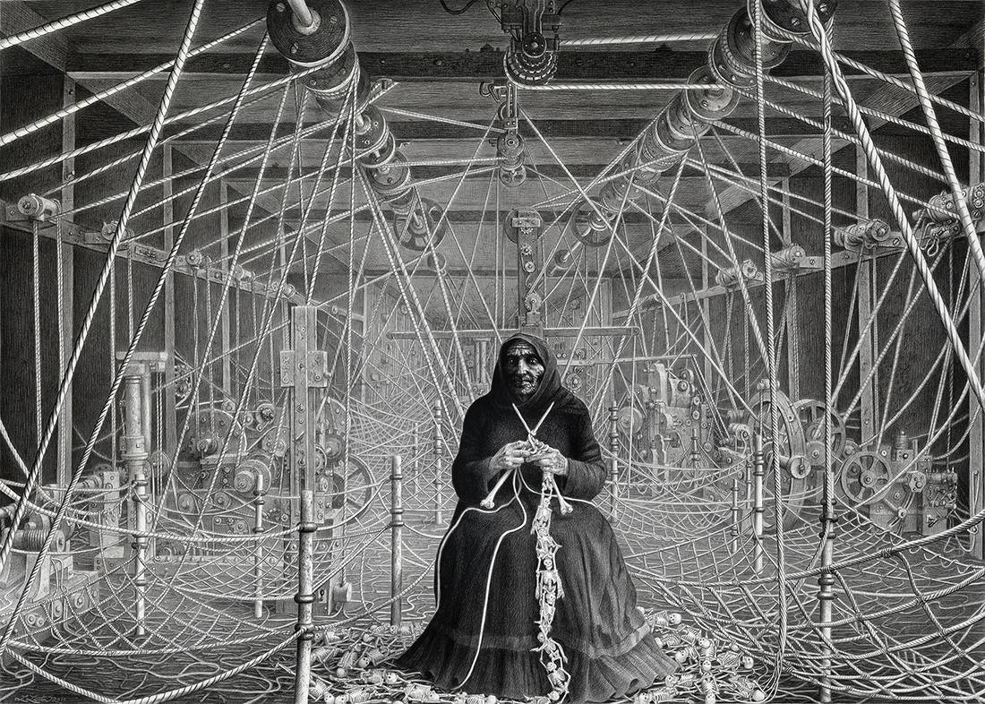 Laurie Lipton, pencil, drawing, the knitter of bones