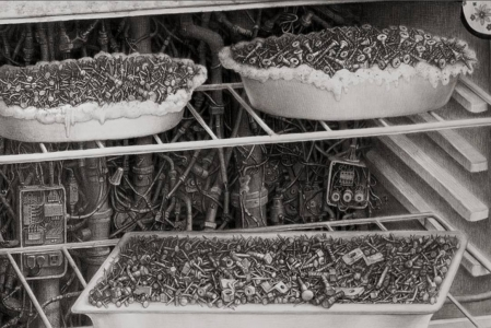 Laurie Lipton, pencil, drawing, ON detail