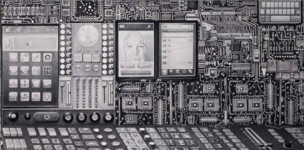 Laurie Lipton, pencil, drawing, Interface detail
