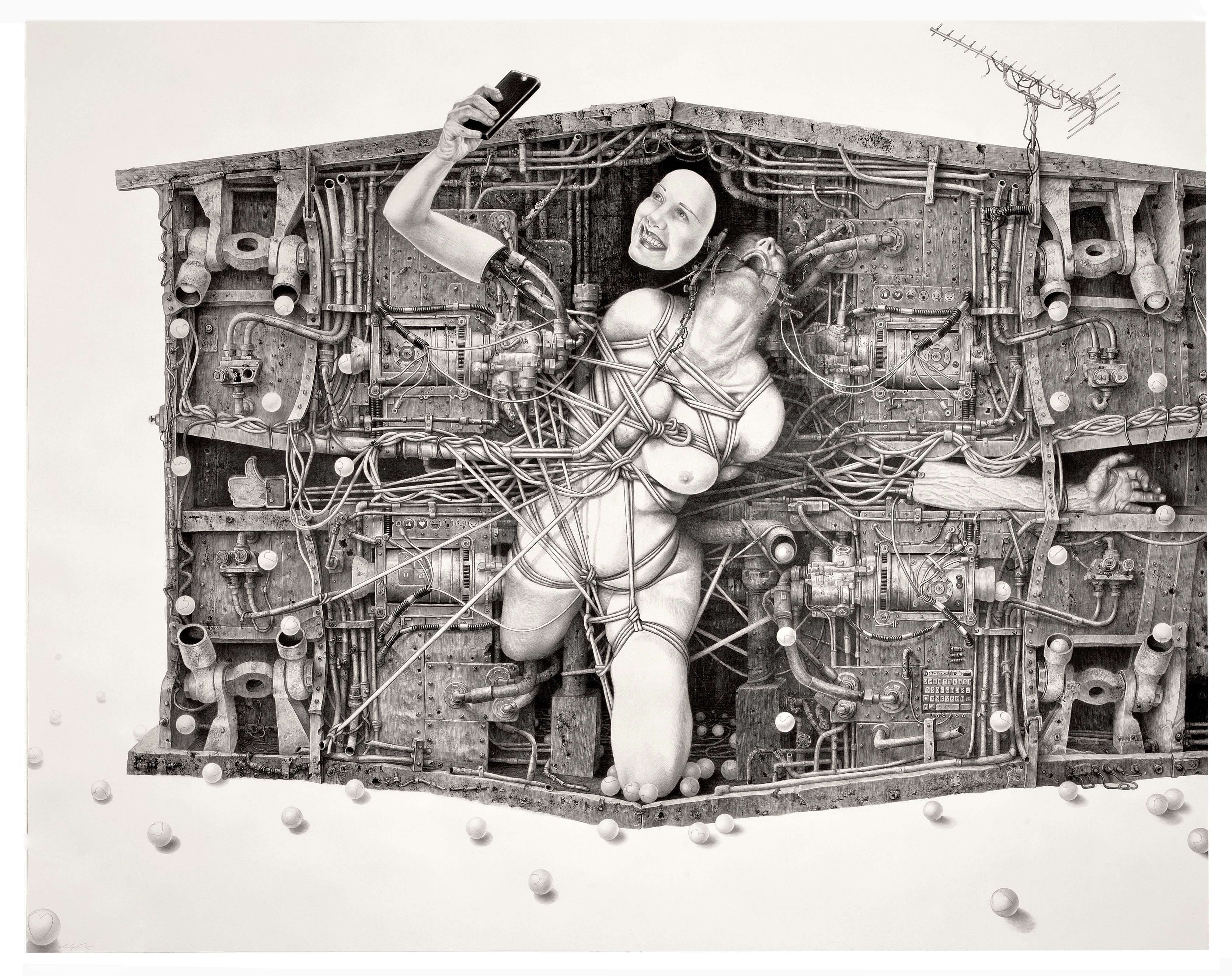 Laurie Lipton drawing, drawing, dystopia, technology, smart phone, I'm fine thanks, contemporary art, womens art, drawing