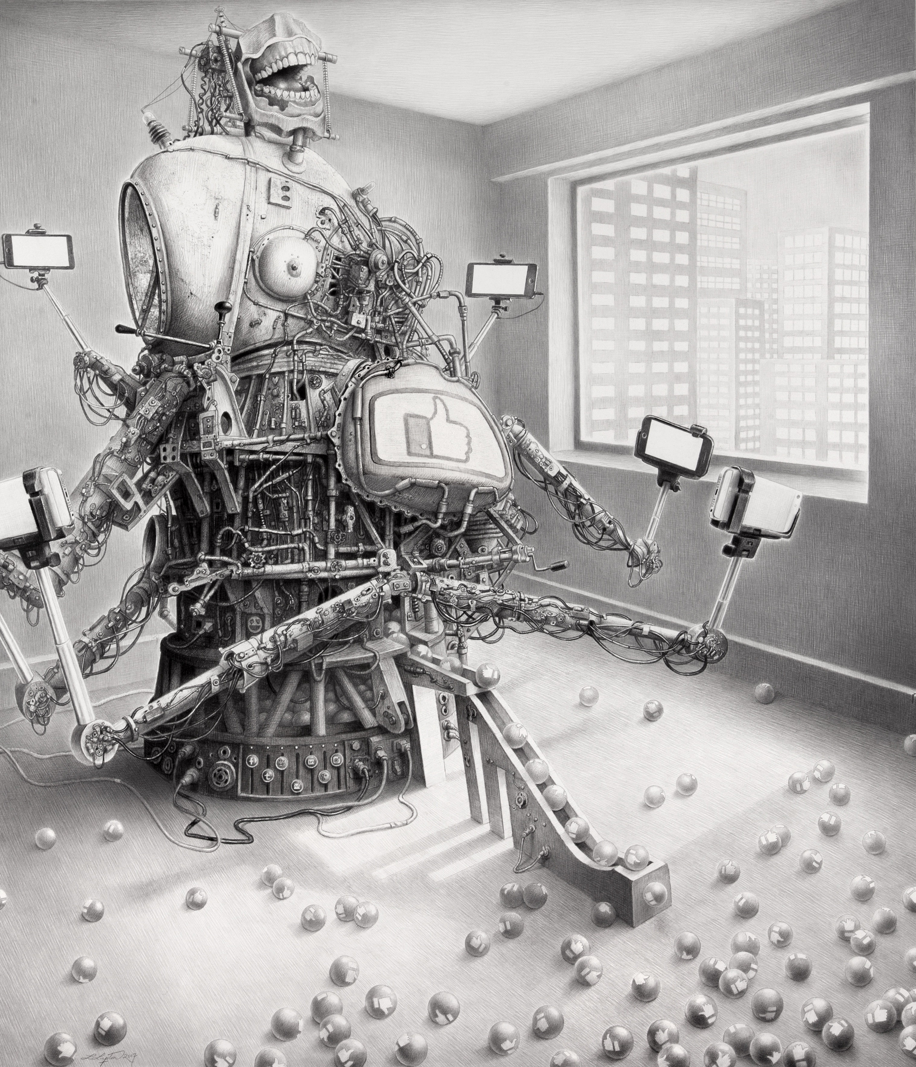 Laurie Lipton drawing, social media, technology, drawing, black and white, dystopia, likes, facebook, twitter, art lovers, art collectors