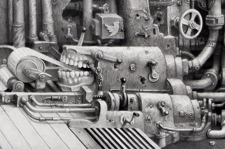 """Laurie Lipton drawing, """"Mouthpiece"""" detail, black and white, dystopian technology, pencil drawing"""