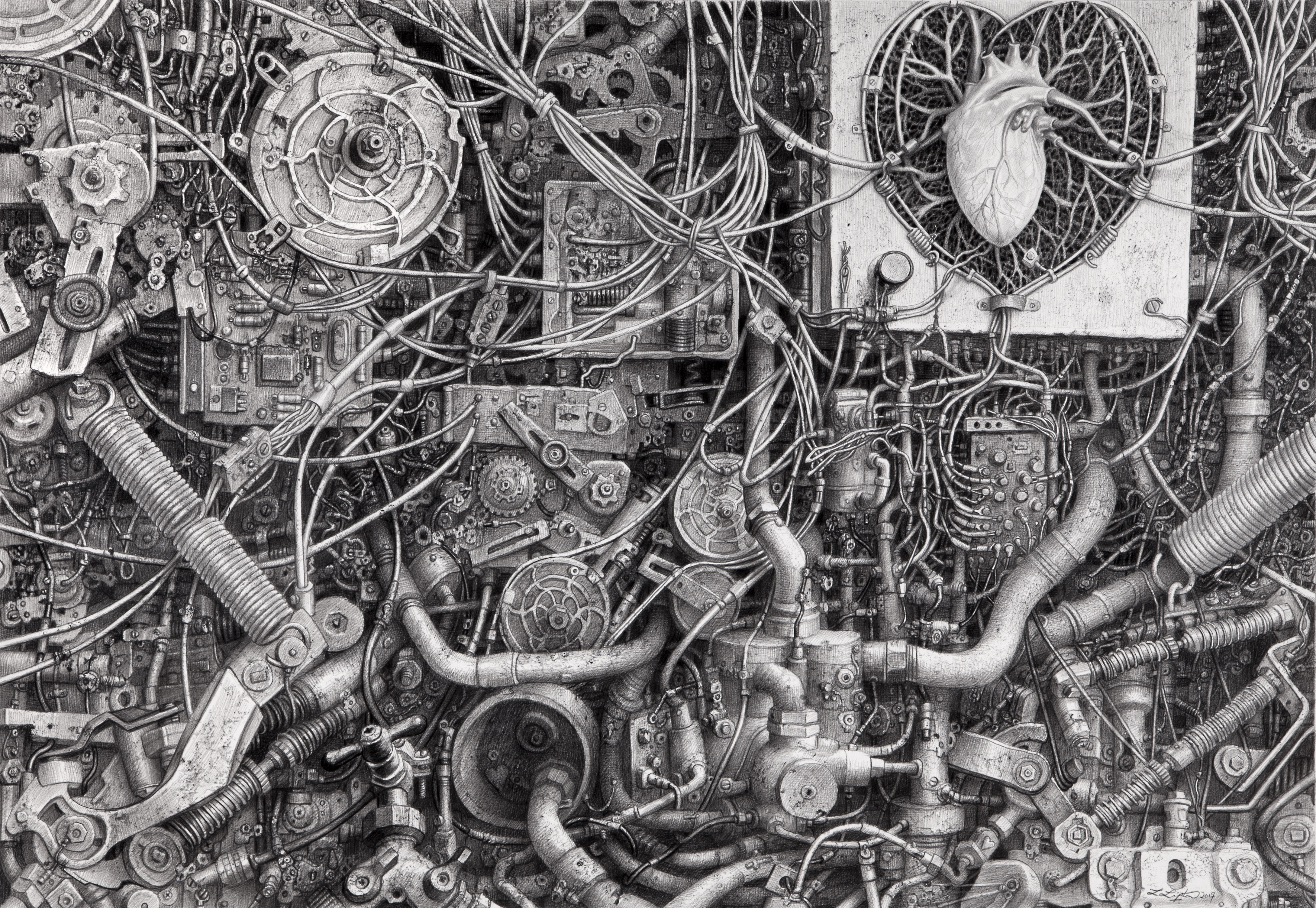 Laurie Lipton drawing, technology, dystopia, pencil drawing, contemporary art, love, art lovers, art collectors, art curators, black and white