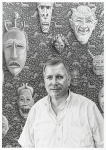 Laurie Lipton, black & white, pencil drawing, portrait