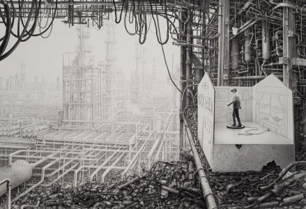 Laurie Lipton drawing, VIRTUAL REALITY